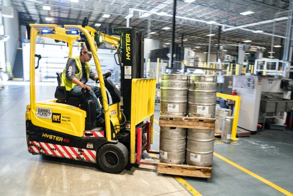 a yellow forklift truck