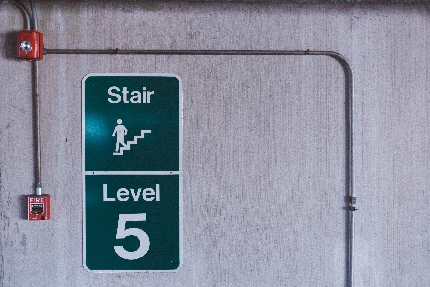 fire alarm and stair sign